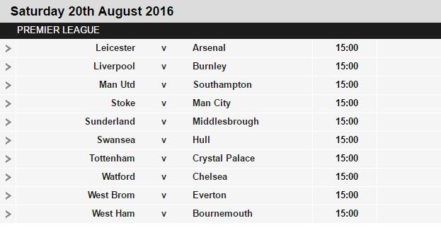 Premier league fixtures 2016 17 released - Italian league fixtures and table ...