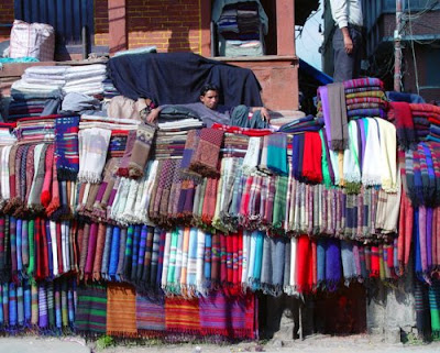 Shawls and blankets for sale on Asan Tole