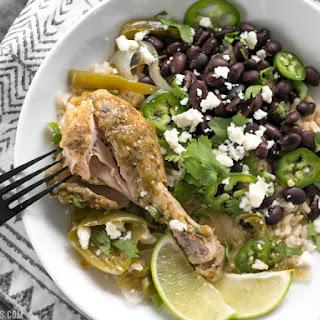 Slow Cooker Salsa Chicken Verde Bowls