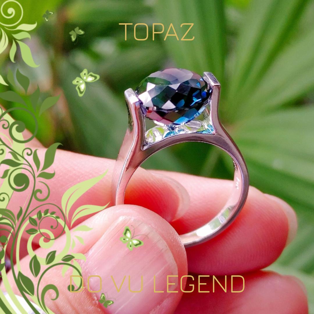 Nhẫn vàng trắng Topaz London nữ