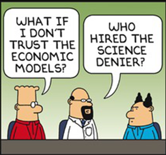 "Frame from the ""Dilbert"" comic strip on 14 May 2017, condemning climate science. Graphic: Scott Adams"