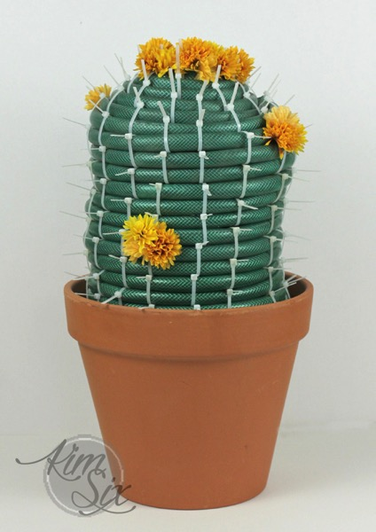 Potted Cactus made from Garden Hose