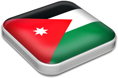 Flag of Jordan with metallic square frame