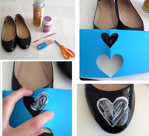 Customização de sapatilha - molde de coração passar cola