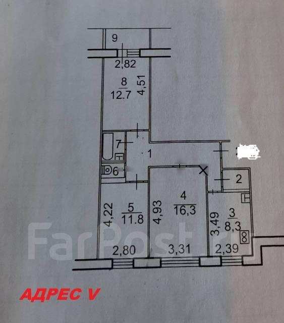 Планировка 3-х комнатной квартиры 65 кв. м.