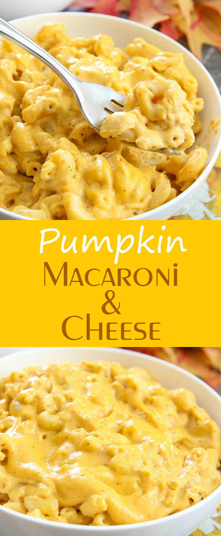 photo collage of Pumpkin Macaroni and Cheese