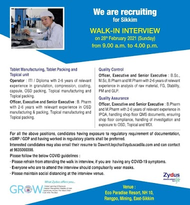 Zydus Cadila Walk-In For QA, QC, Production, Packaging Departments