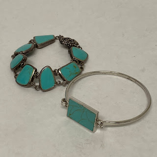 Sterling Silver & Turquoise Bracelet Pair