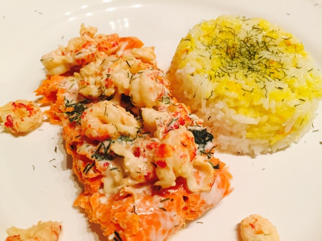 Wild Atlantic salmon and crayfish with sourcream and dill