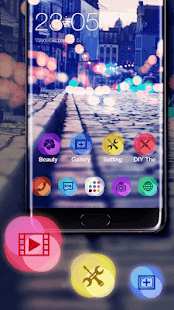 Stylish Romantic Theme: Neon Night Street Launcher - náhled
