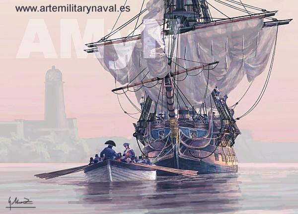 Navio el glorioso saliendo de la habana remolcado siglo XVIII