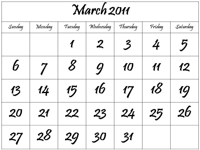 monthly calendar 2011 march. Monthly Calendar 2011