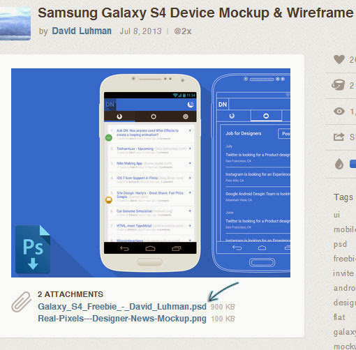 Download mockup samsung galaxy S4 & Wireframe PSD