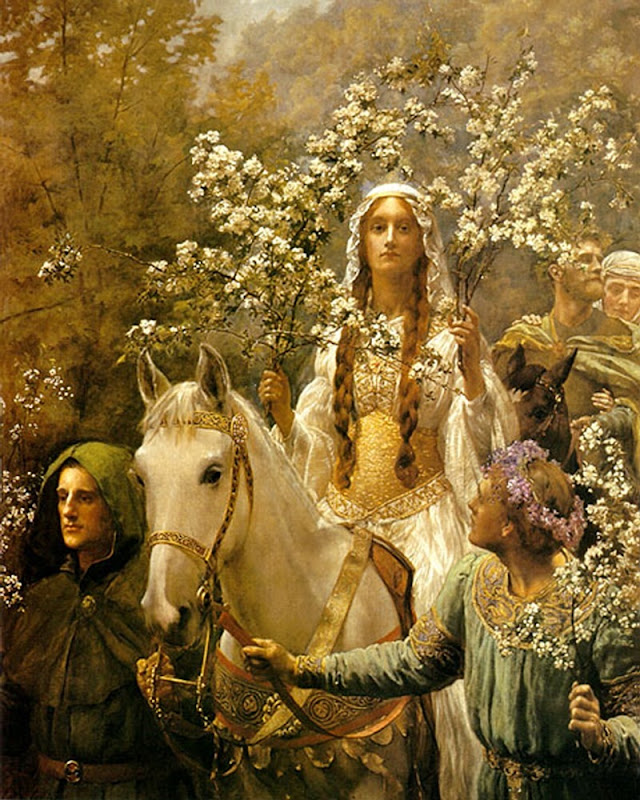 John_Collier_Queen_Guinevre's_Maying_-_Ausschnitt