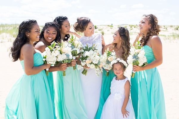 Handmade mint green beach wedding tidewater and tulle for Green beach wedding dresses