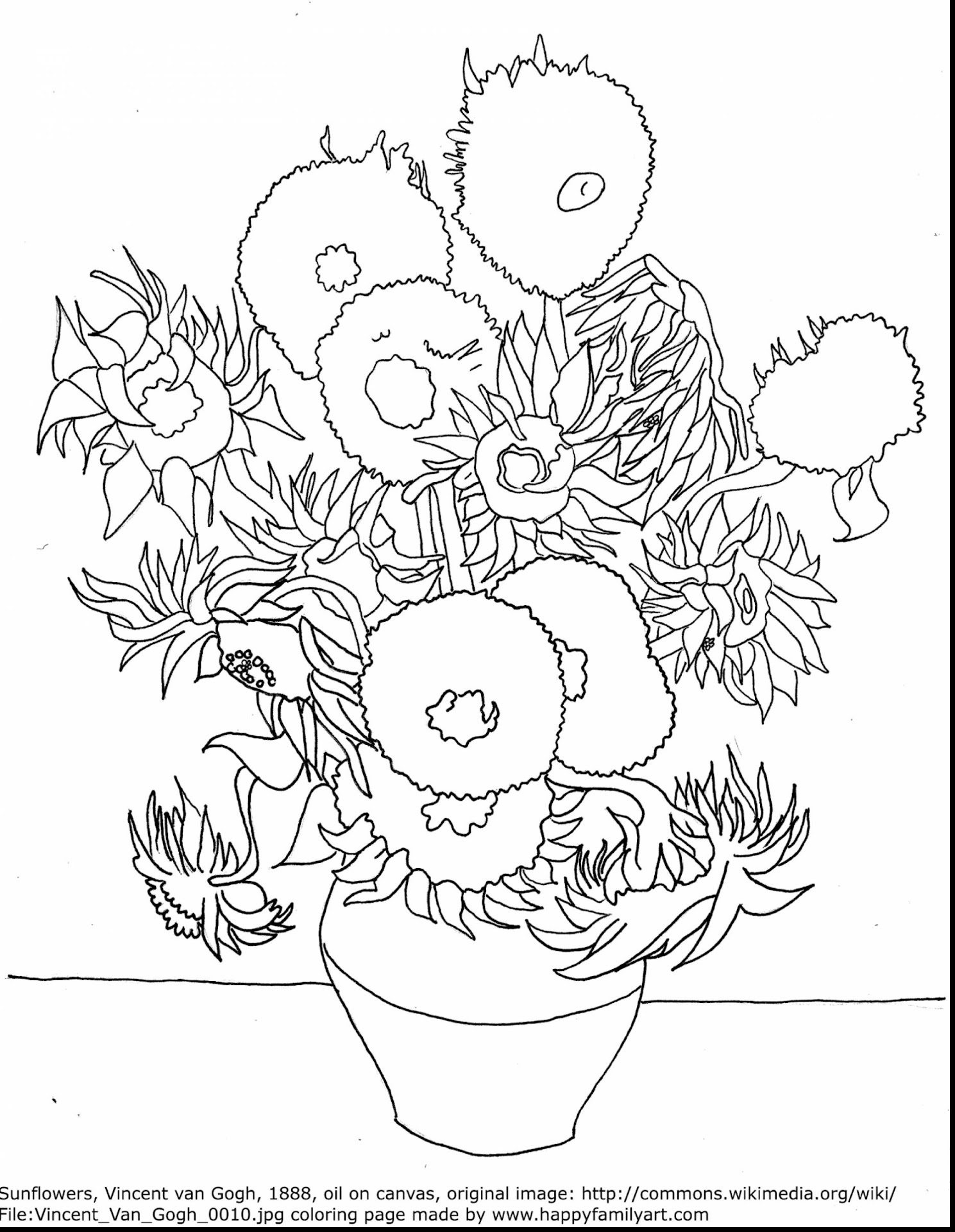 Best hd van gogh sunflowers coloring page library for Coloring pages of sunflowers