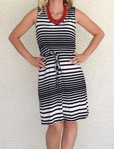 Thrifty Wife, Happy Life- Adding a pop of color to a black and white dress