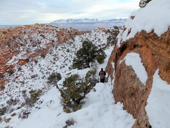 Sketchy, snow-covered route back into Hidden Valley