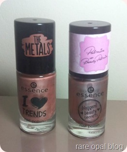 A comparison of two Essence Cosmetics Rose Gold nail polishes I Love Trends The Metals in Rose Beats and Bloggers' Beauty Secrets in Hello Beautiful! by Beauty Palmira