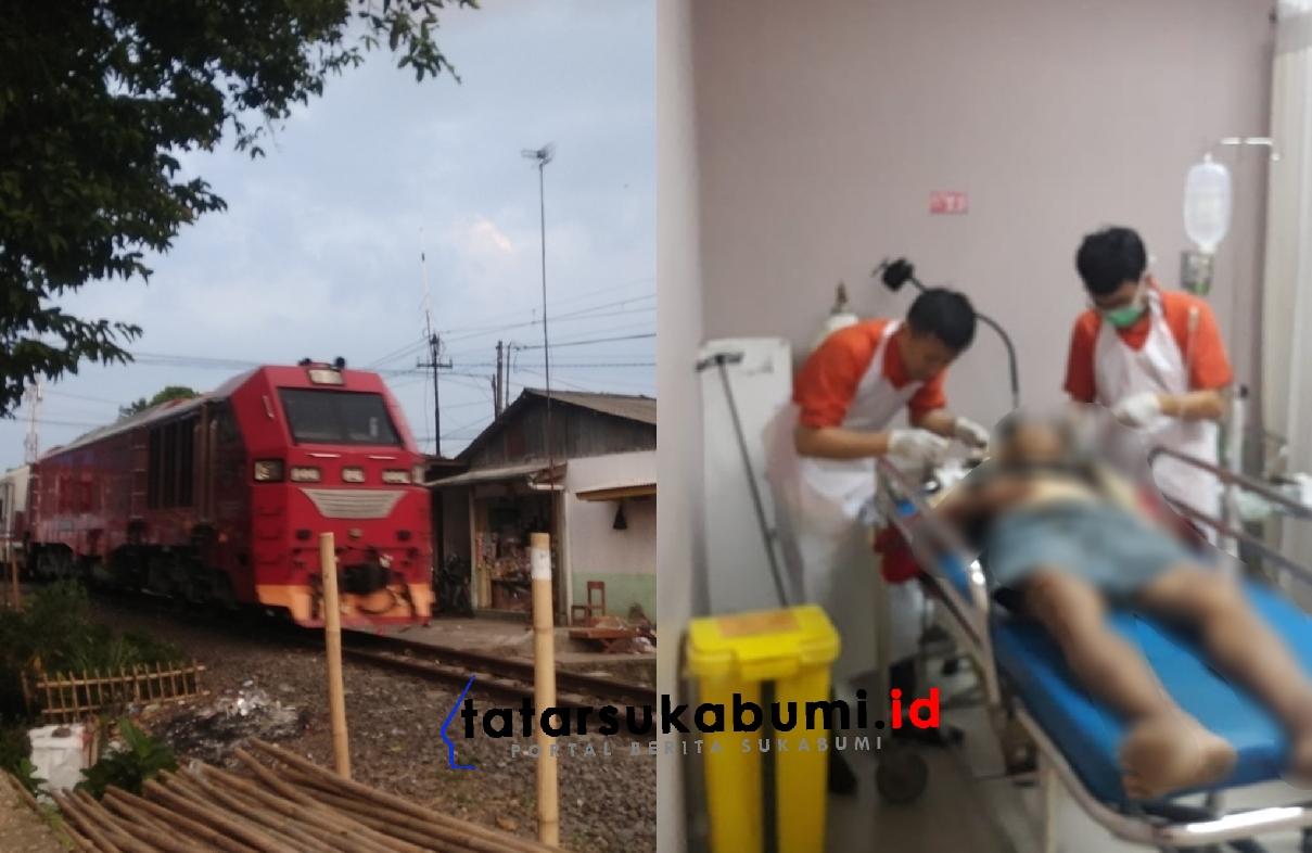 Kakek Pedagang Rengginang Terserempet Kereta Api Sukabumi Bogor