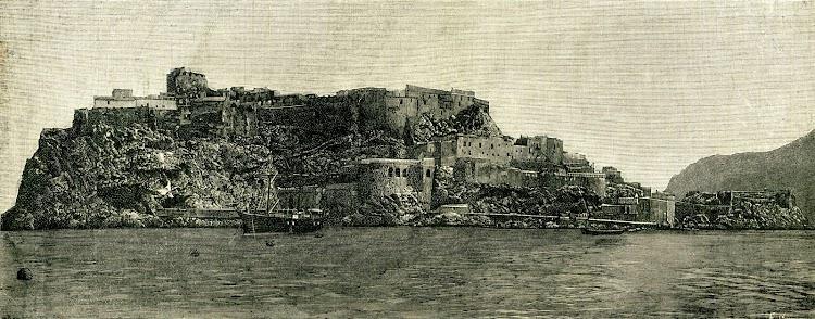 Amarre en el peñon de Velez de la Gomera. Foto y texto de la revista NATURALEZA, CIENCIA E INDUSTRIA. Año 1891..jpg
