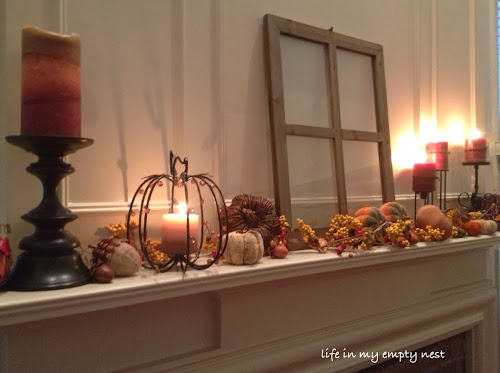 fall mantel, old window