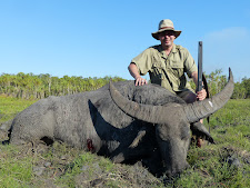 Mr Weidman USA with an old bull. Taken at 20 yards with a 470 double rifle.