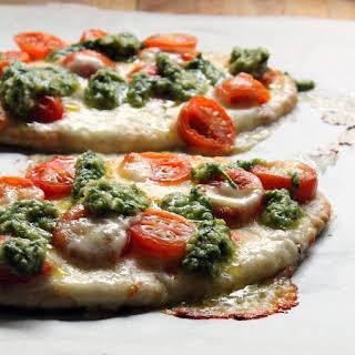 Caprese Pita Pizzas With Chive Pesto.