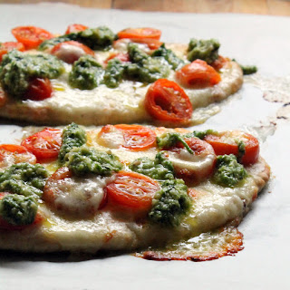 Caprese Pita Pizzas With Chive Pesto.