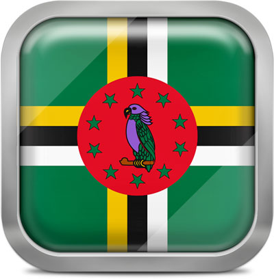 Dominica square flag with metallic frame