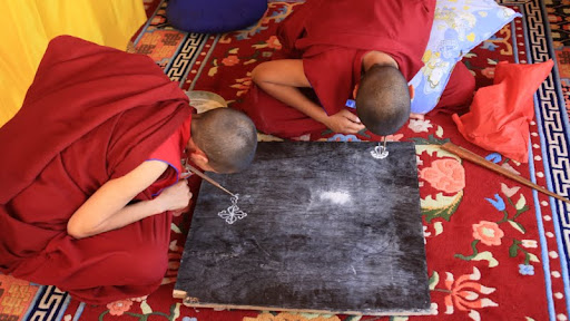 First nuns in Ladakh to learn sand painting, Gephel Shadrubling Nunnery, Ladakh, India, July 2012. Photo by Marlies Bosch.