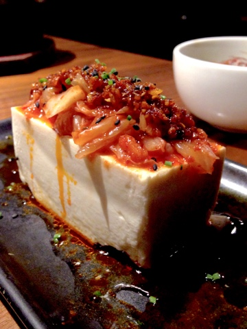 Spicy tofu from Kintan Japanese BBQ in Holborn.  Kintan is the first yakiniku-style restaurant in London.  Cook your own bite sized pieces of meat or seafood on the grill set in the table and enjoy with other small dishes, rice and noodles on the extensive menu