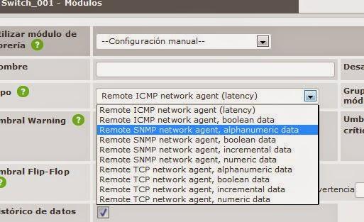 Añadir módulos (sensores, sondas) para monitorizar CPU, Temperatura, Voltaje, Fuente Alimentación, Ventilador de switch Cisco en en Pandora FMS mediante SNMP