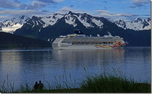 Norwegian Sun with Kenai Mountains in Resurrection Bay