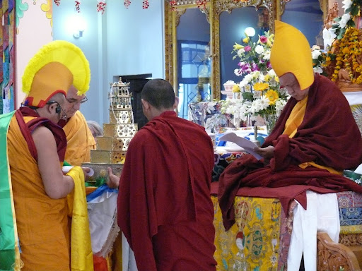 Ven. Roger Kunsang and Dagri Rinpoche offering mandala to Lama Zopa Rinpoche during long life puja at Tushita Retreat Center, December, 2011.