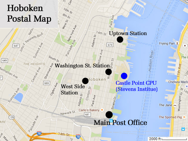 Hoboken Post Office Map