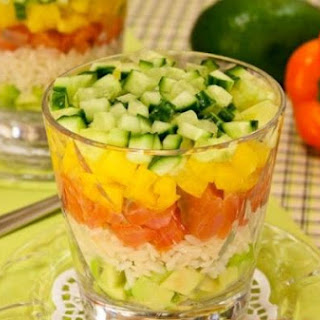 Salad With Salmon, Avocado And Rice