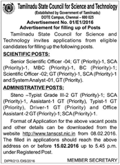 TANSCST Recruitment 2016 indgovtjobs