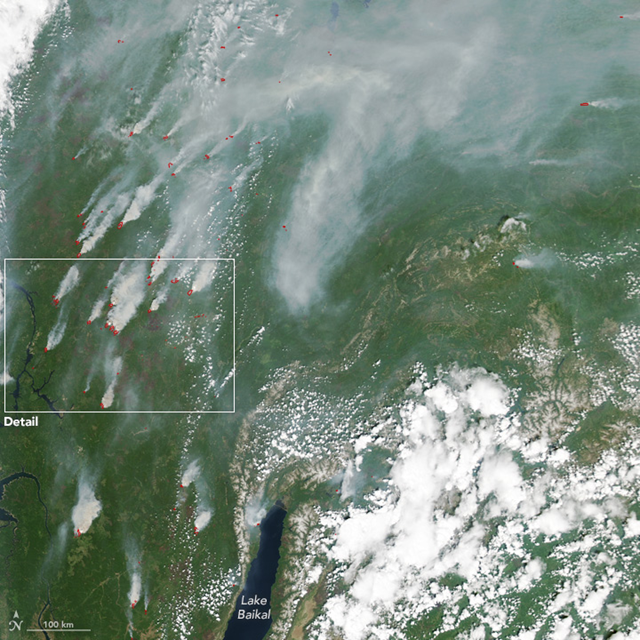 On 22 June 2017, the Moderate Resolution Imaging Spectroradiometer (MODIS) on NASA's Aqua satellite acquired this natural-color image of fires near Lake Baikal and the Angara River. Photo: Jeff Schmaltz / LANCE/EOSDIS Rapid Response