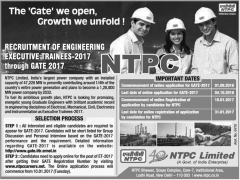 NTPC Limited Executive Trainees GATE 2017