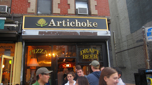 After John's we trekked from the West Village to the East Village for a hearty slice of Artichoke pizza.