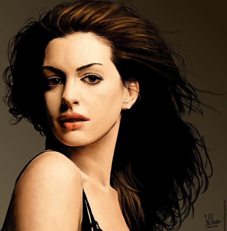 Colored ink drawing of Anne Hathaway, using Krita 2.5.