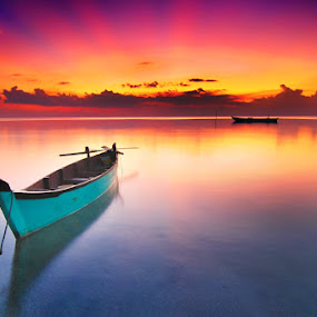 Ngembaraan Mbik by Rawi Wie - Transportation Boats ( colour, sunset, beach, boat, landscape )