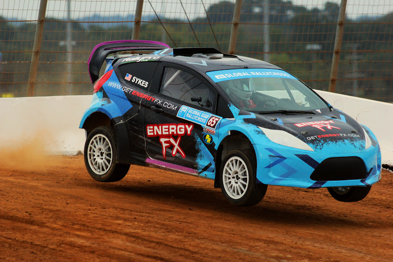 Jumps are a big part of rallycross racing. The jump at Charlotte was not a particularly big one, but it was at the turn coming off the asphalt outside the regular course, back into the clay infield, so managing the loading and unloading of the suspension was critical.