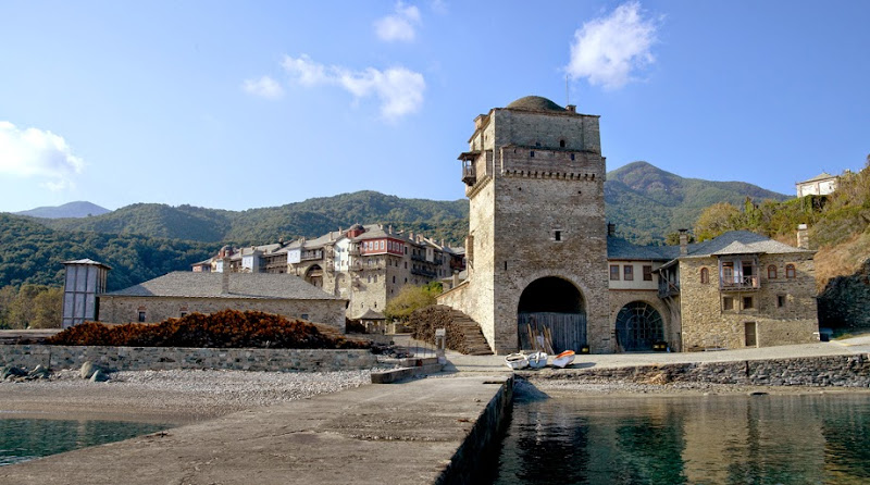 28. Holy Monastery of Iviron. View from the pier.