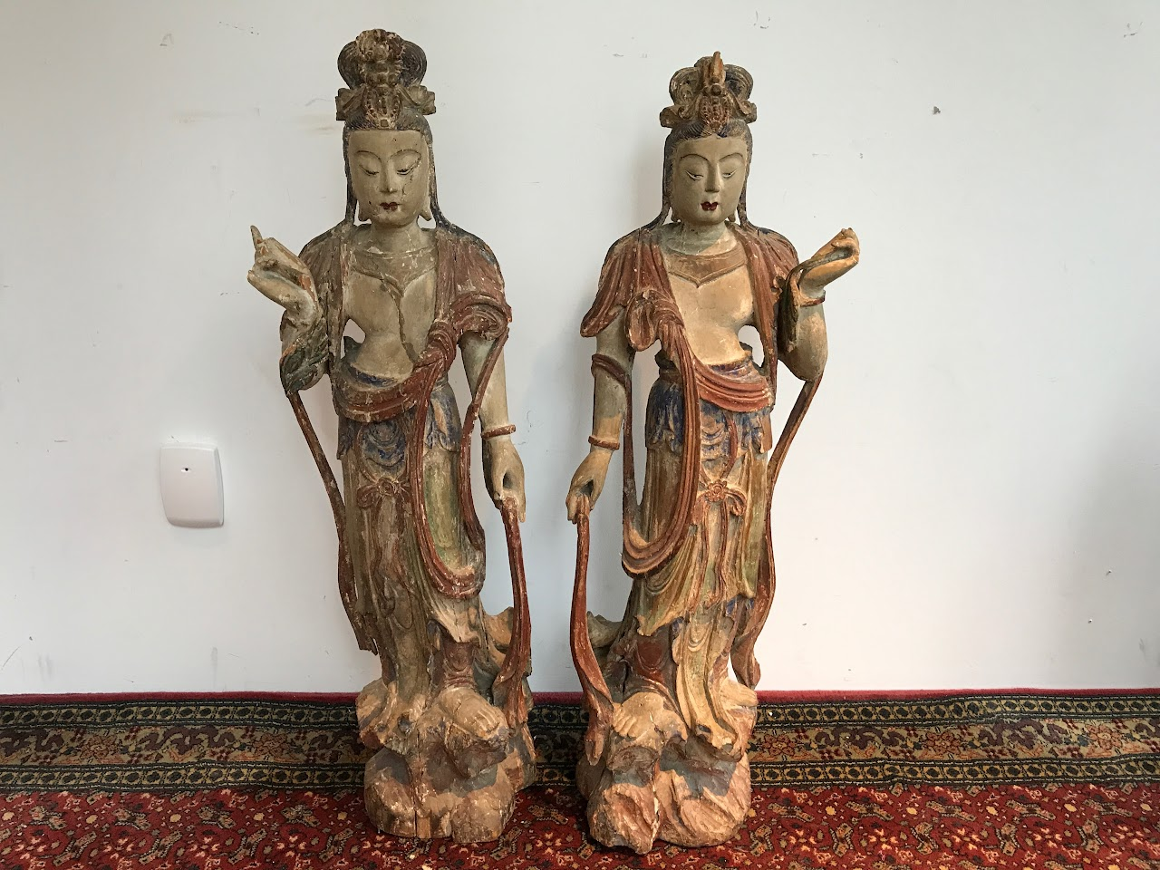 Chinese Carved Buddha Statue Pair