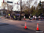 The half marathoners rounding the corner from Park to Monroe.