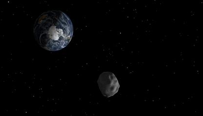 ilustração de um asteroide próximo à Terra