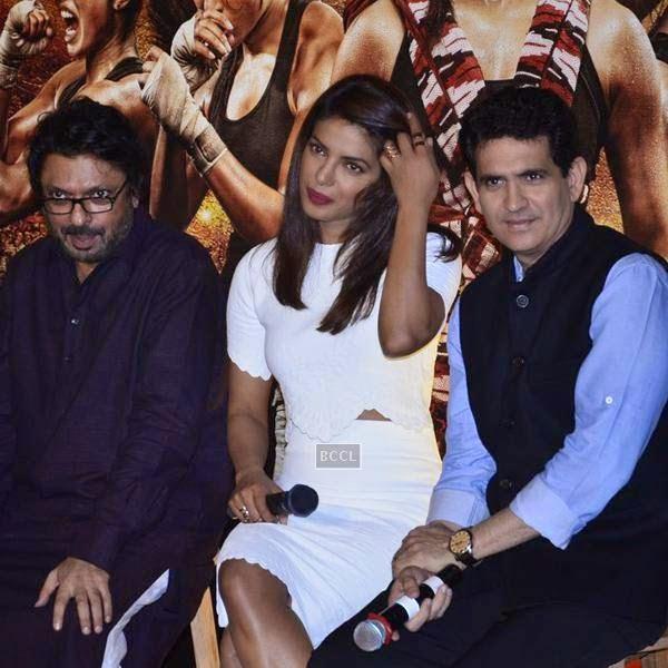 Sanjay Leela Bhansali, Priyanka Chopra and Omung Kumar during the first look of film Mary Kom, held at PVR Citi Mall, in Mumbai. (Pic: Viral Bhayani)
