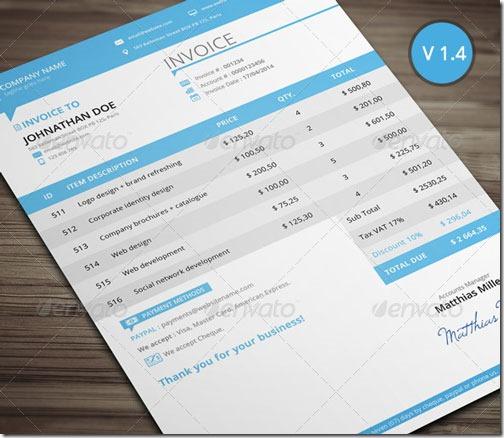 Modelo para facturas, limpio y profesional